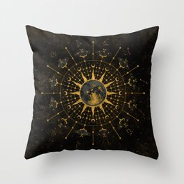 Steampunk Zodiac with Sun and Moon Throw Pillow
