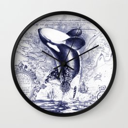 Breaching Orca Killer Whale Watercolor Ancient Blue Wall Clock