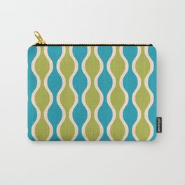 Classic Retro Ogee Pattern 852 Turquoise and Olive Carry-All Pouch