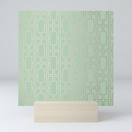 Simply Mid-Century in White Gold Sands and Pastel Cactus Green Mini Art Print