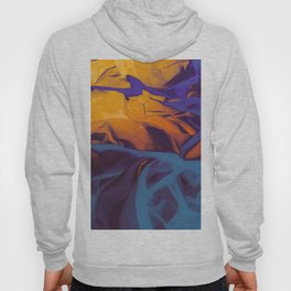 Orange, Purple and Blue Abstract. Mixed Media. Hoody