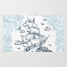 Hand drawn boat with waves background Rug