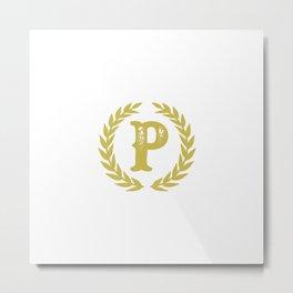 Mustard Yellow Monogram: Letter P Metal Print