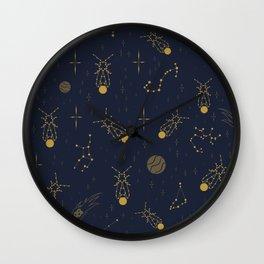 Golden Fireflies Constellations Wall Clock