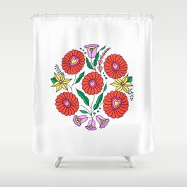 Hungarian embroidery inspired pattern white Shower Curtain