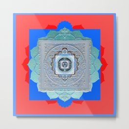 Color Bliss Therapy Vintage Texture Mandala Metal Print