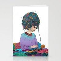 knitting Stationery Cards featuring Knitting by Fernanda Maya