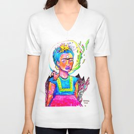 Frida Calico Unisex V-Neck