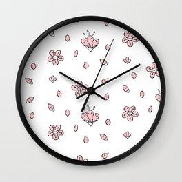Sweet Sakura Smiles - Springtime - White and Blushing Pink Wall Clock