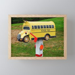 School Bus Mailbox Framed Mini Art Print