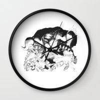 berserk Wall Clocks featuring Guts & Griffith vs Zodd by Vortha