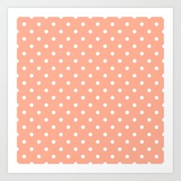 Bright Peach with White Polka Dots Art Print