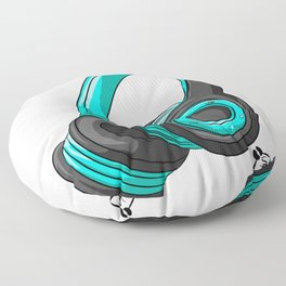 Blue and black headset Floor Pillow