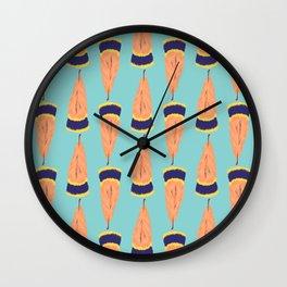 Green Feather Half Drop Surface Pattern Design Wall Clock