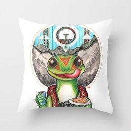 The Gecko Tourist Throw Pillow