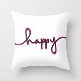 Happ-y2 Throw Pillow