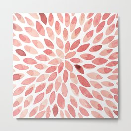 Watercolor brush strokes - living coral Metal Print