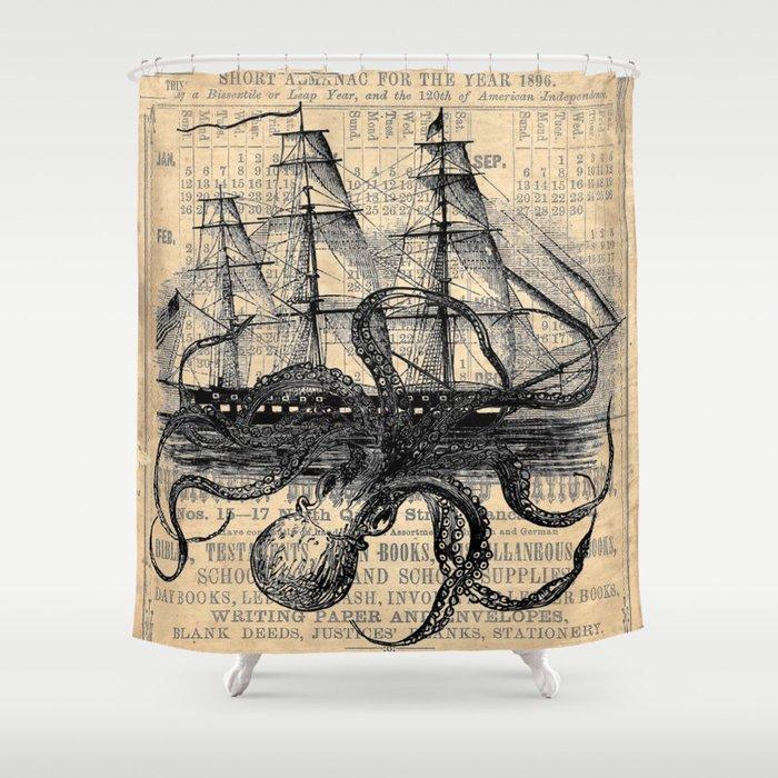 Octopus Kraken attacking Ship Antique Almanac Paper Duschvorhang