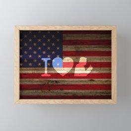 I Love Trump American Flag Framed Mini Art Print