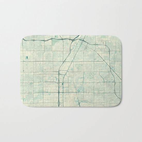 Las Vegas Map Blue Vintage Bath Mat