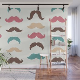 Hipster Moustache Pattern – Vintage Red Brown Teal and Yellow Wall Mural