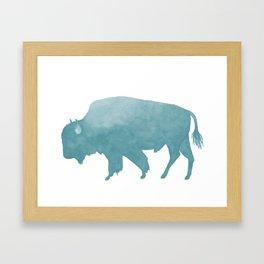 Watercolor Bison in Mint Blue Framed Art Print