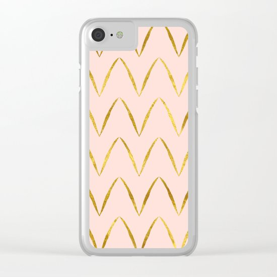 Pink Gold Foil 05 Clear iPhone Case