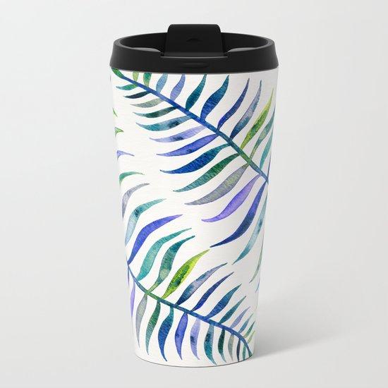 Indigo Palm Leaf Metal Travel Mug