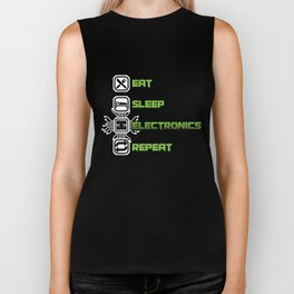 Eat Sleep Electronics Repeat Devices Transistor Digital Circuits Appliances Gift Biker Tank