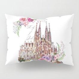 Barcelona Spain La Sagrada Familia Vintage Pillow Sham
