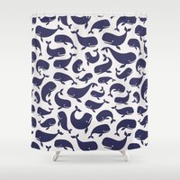 moby dick Shower Curtains featuring Moby Dick - White by Drivis