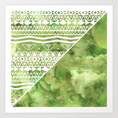 Modern green watercolor color block geometric aztec  greenery color of the year pattern Art Print