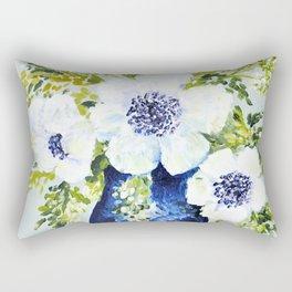 Anemones in vase Rectangular Pillow