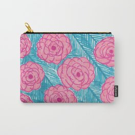 Tropical Palm Leaves and Roses Print Carry-All Pouch