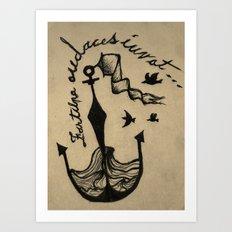 Anchor, Navy Birds Art Print