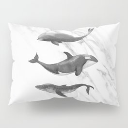 Ocean Whales Marble Black and White Pillow Sham