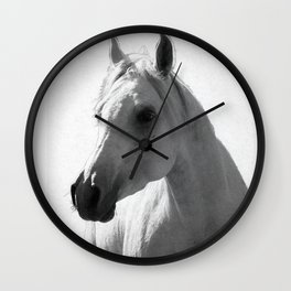 White horse portrait Wall Clock