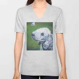 beautiful BEDLINGTON TERRIER dog art portrait  an original painting by L.A.Shepard Unisex V-Neck