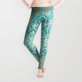Teal Gold Mermaid Damask Pattern Leggings