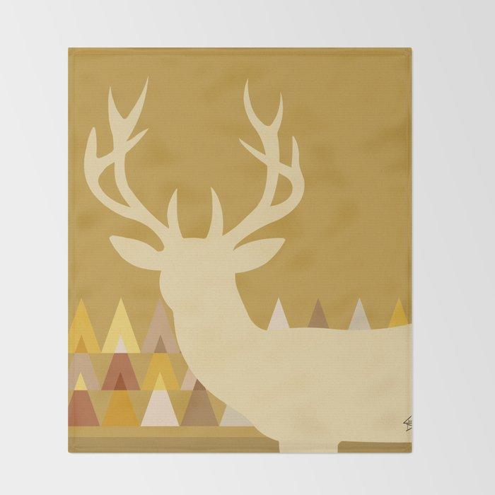 Mustard Yellow Throw Blanket Interesting Deer Head Geometric Triangles Mustard Yellow Taupe Throw Blanket