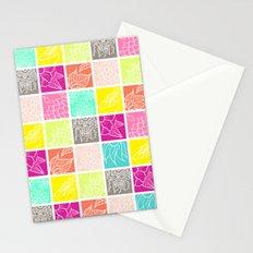 Modern bright patchwork hand drawn boho illustration floral mandala Stationery Cards