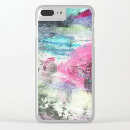Grunge magenta teal hand painted watercolor Clear iPhone Case