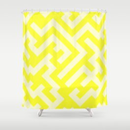 Cream Yellow and Electric Yellow Diagonal Labyrinth Shower Curtain