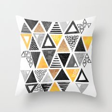 Triangle Abstract / Black & Yellow Throw Pillow