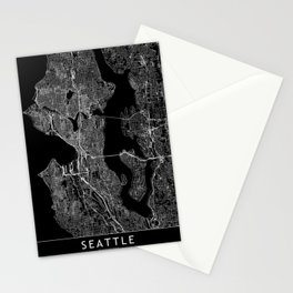 Seattle Black Map Stationery Cards