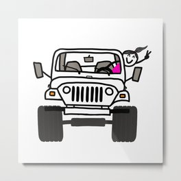 Jeep Wave White - Girl Metal Print