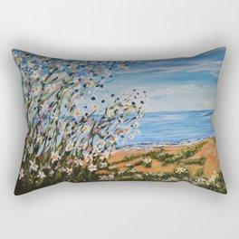 Beach Daisies, Landscape Floral Art Rectangular Pillow