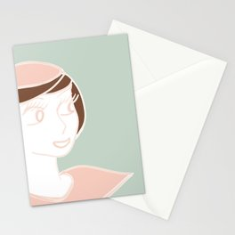 Mademoiselle avec Béret Stationery Cards