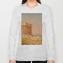 Ruins of the Parthenon Oil Painting by Sanford Robinson Gifford Long Sleeve T-shirt