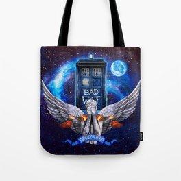 The Angel with Tardis Tote Bag